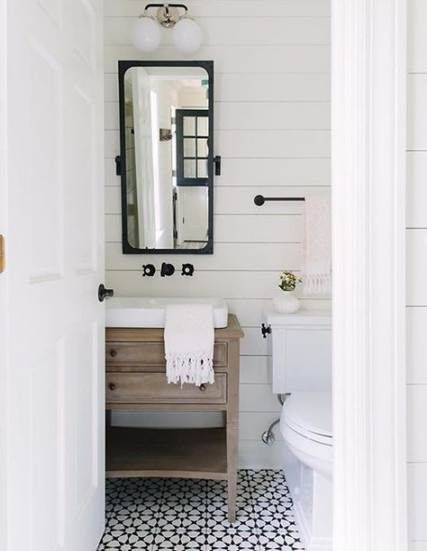 Farmhouse bathroom black and white powder rooms 26+ ideas for 2019 #farmhouse #bathroom