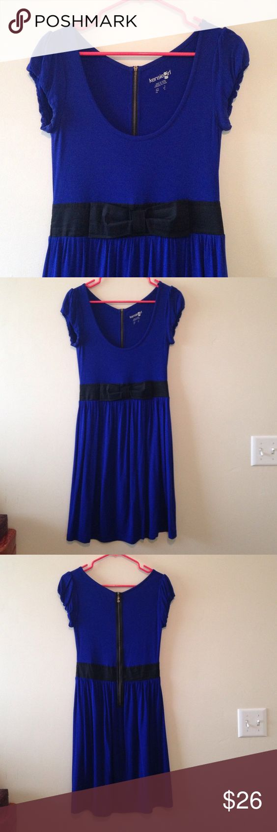 Royal Blue Dress with Black Bow waist