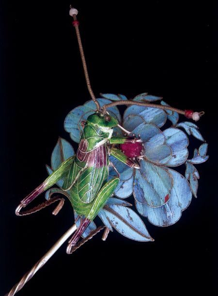 Kingfisher feather and enamel hairpin, Chinese, Qing dynasty
