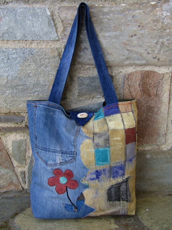 Unique uplycled jean tote bag by ZayiaCraft on Etsy