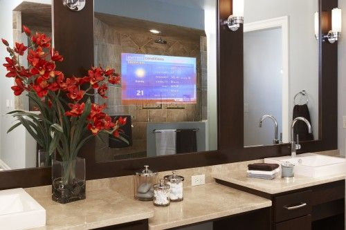 Enhanced Series Television Mirror....Wow....Want this!    Multi-tasking is one way to achieve this goal. Catch up on the nightly business report while you brush and floss. Get the latest traffic report while you're doing your hair in the morning.