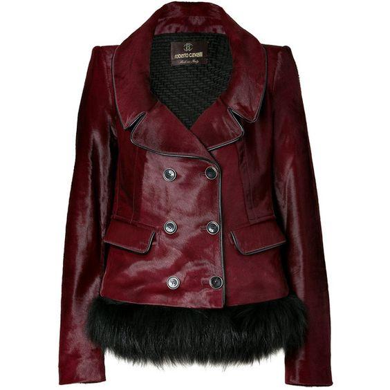 ROBERTO CAVALLI Dark Ruby Fur Trimmed Haircalf Jacket