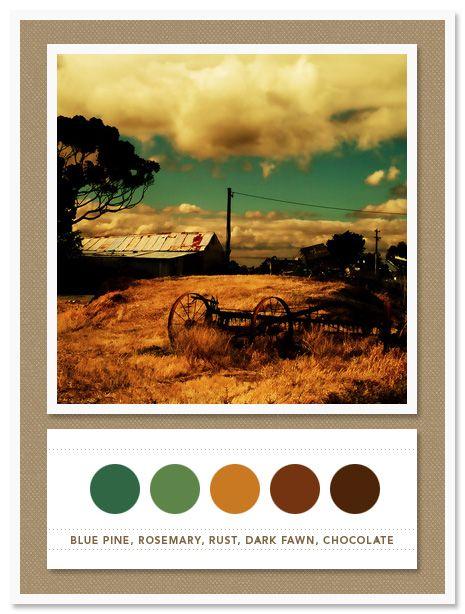Colour Palette: blue pine, rosemary, rust, dark fawn, chocolate