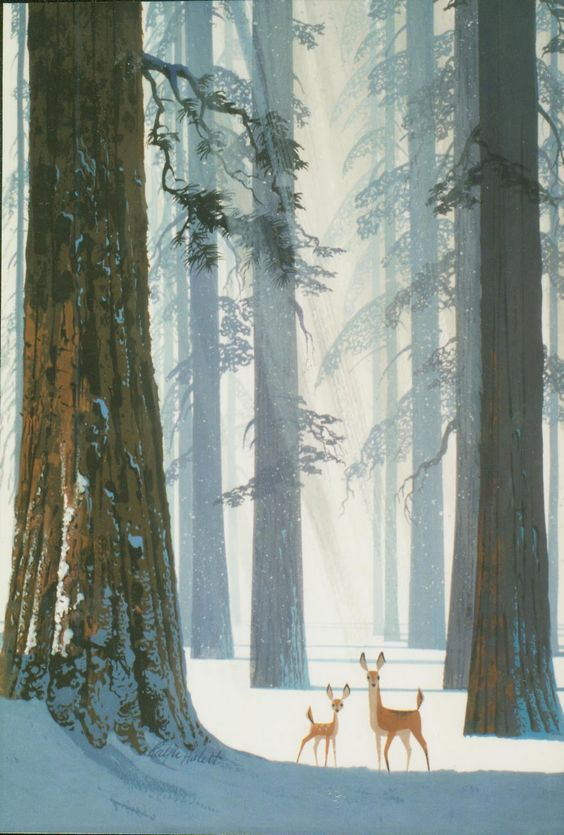 snow, forest, deer, painting, illustration, vintage style: