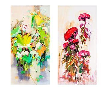 Set de 2 lienzos impresos Flores - 120x60 cm