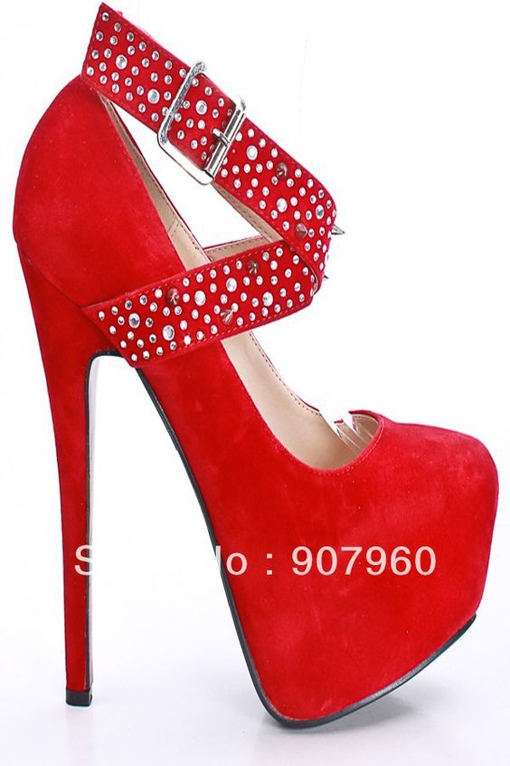 new 2014 fashion latest high heels red rivet strap platform women
