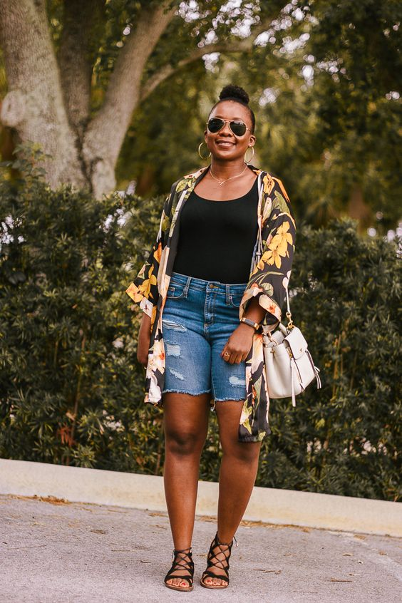 summer outfit with floral kimono and distressed denim bermuda shorts #summeroutfit