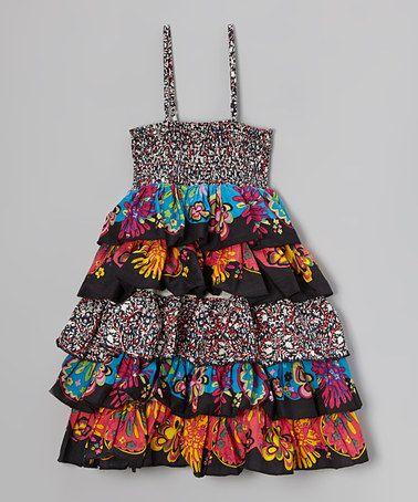 Love this Black & Orange Floral Tiered Dress - Toddler & Girls by Yo Baby on #zulily! #zulilyfinds