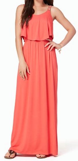 tropical coral maxi dress