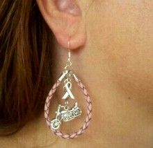 Pink leather Breast Cancer Awarness Motorcycle Earrings!
