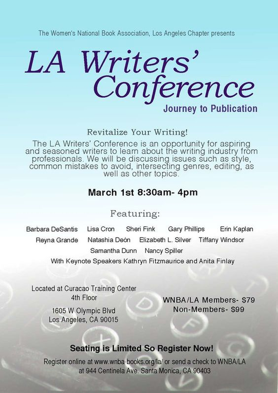 Textile Finance, CA An all day conference on March 1st, LA Writers' Conference will be an opportunity for aspiring writers to learn about the writing industry from professionals. Hosted at the Curacao Training Center… Click flyer for more >>