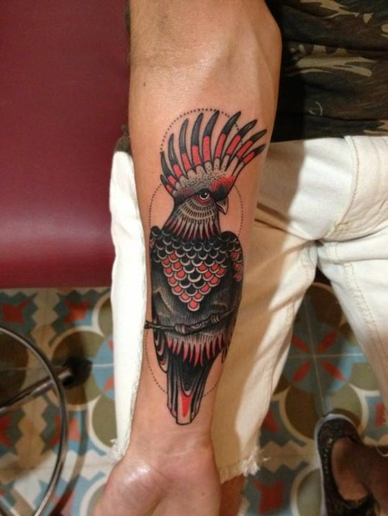 Paisley Bird Tattoo | ... in this black and red bird tattoo of a cockatoo by Karolina Bebop