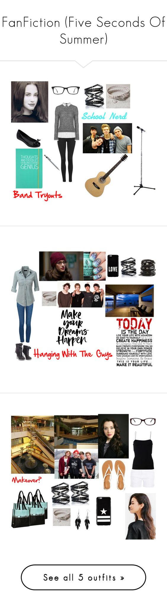 """""""FanFiction (Five Seconds Of Summer)"""" by mundca ❤ liked on Polyvore featuring Topshop, Melissa, Happy Jackson, Ray-Ban, Eva Fehren, AG Adriano Goldschmied, Frame Denim, LE3NO, Giuseppe Zanotti and Wet Seal"""