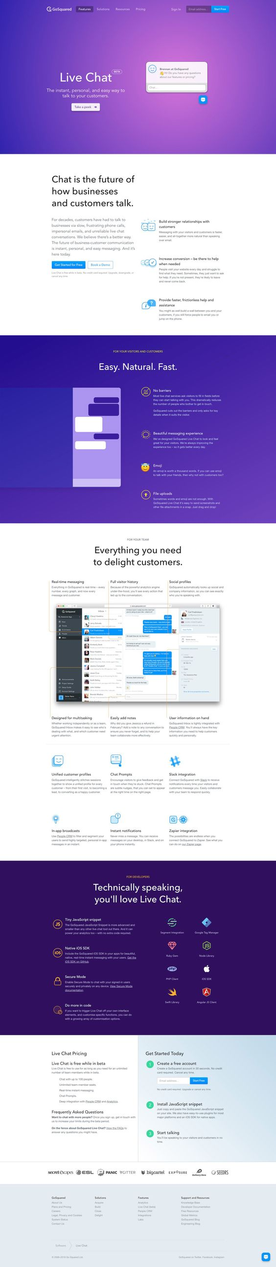 Gosquared live chat landing pages pinterest