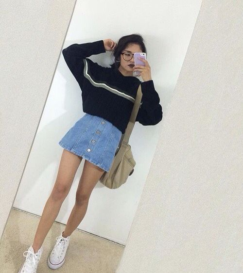 Stripe sweater and button front denim skirt.