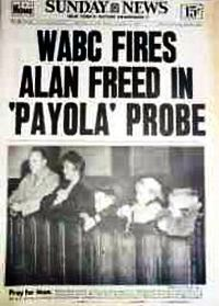 NY Sunday News runs front page story about Alan Freed's firing by WABC radio…