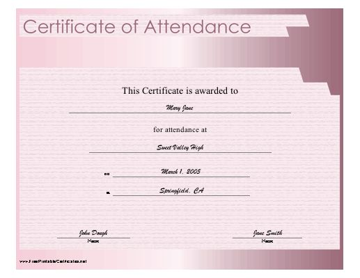 A purple certificate of attendance to be awarded after completion - certificate of attendance template free download