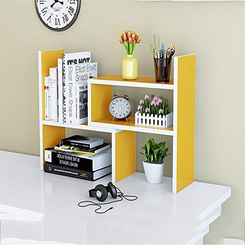 Deprq Bookshelf Adjustable Freestanding Natural Wood Desktop Storage Organizer Display Shelf Rack Counter Bookc Desktop Storage Wooden Bookcase Display Shelves
