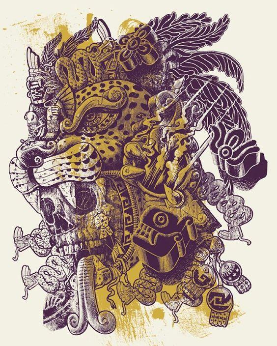 Aztec skulls and jaguar on pinterest for Jaguar warrior tattoo
