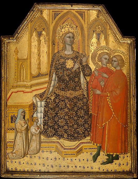Saint Catherine Disputing and Two Donors.  c 1380  Cenni di Francesco di Ser Cenni.    A princess of great learning and beauty, St Catherine of Alexandria (c. 4th) was challenged to a debate with fifty pagan orators, all of whom she converted to Christianity. Here she counts off the points of her dispute to two men who wear haloes as an indication of their conversion by her arguments. Two diminutive donors wearing the habits of Franciscan tertiaries kneel at the left.