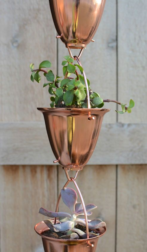 Copper Rain Chain Succulent Planter Copper Rain Chains Rain Chain Succulent Planter