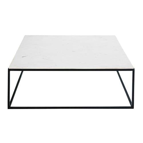 Table Basse Carree En Marbre Blanc Et Metal Noir Maisons Du Monde Table Basse Marbre Table Basse Carree Table Basse