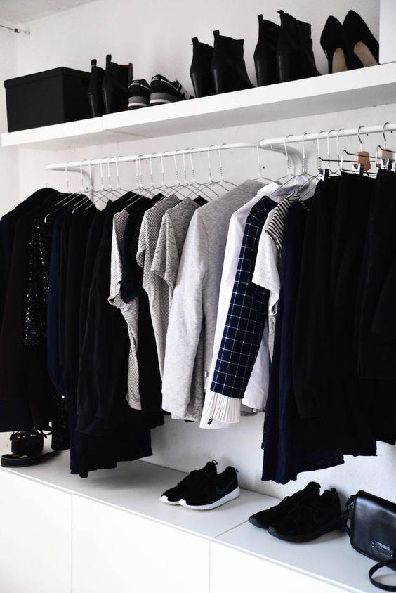 room makeovers minimal and closet on pinterest. Black Bedroom Furniture Sets. Home Design Ideas