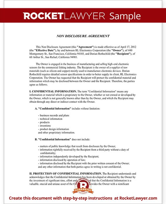 Sample Non-Disclosure Agreement Form Template Startup Legal - sales agency agreement template