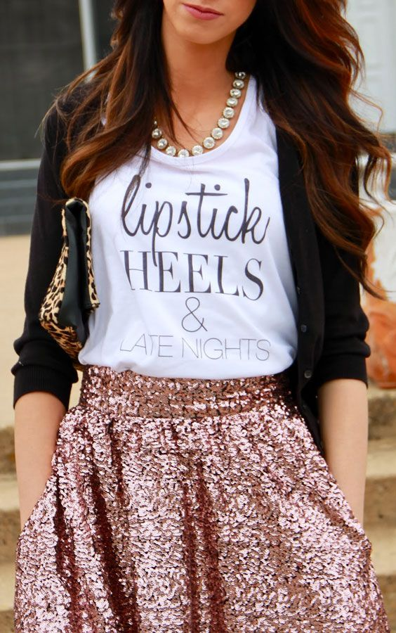 #graphic #glam bronze #sequin skirt and white tee #outfit