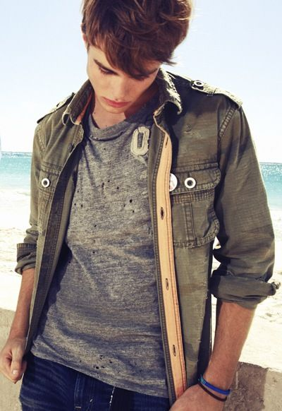 Layer (gray tshirt) - casual collar button up loose and open