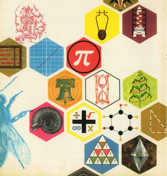 Kids Maths Book Cover : Vintage math science illustration art