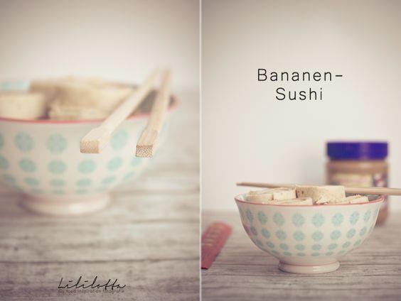 Bananen-Sushi mit Zimt, Erdnussbutter & Nutella :)