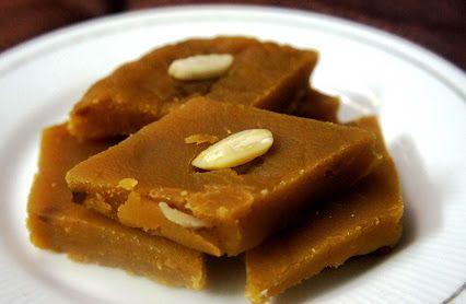 Chana Dal Halwa is soft like a cake and its flavor is worth the effort.