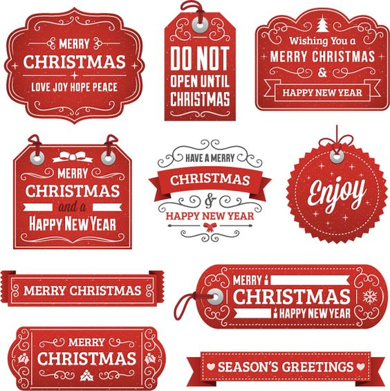 Red christmas labels with banners and tags vector