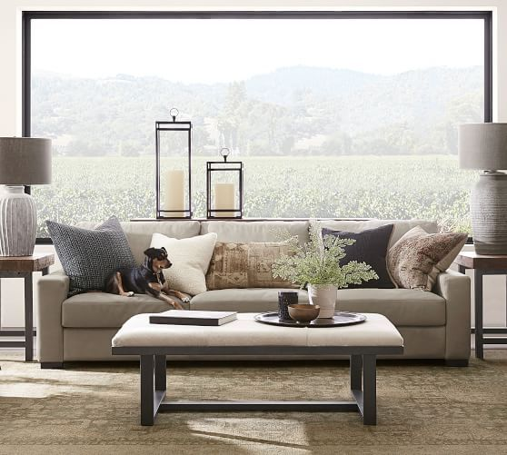 Turner Square Arm Leather Sofa, Pottery Barn Living Rooms
