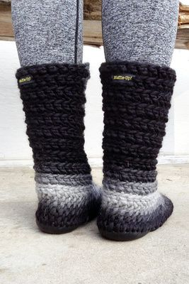 Crochet Slipper Boots with Leather Soles For Women and Men ...