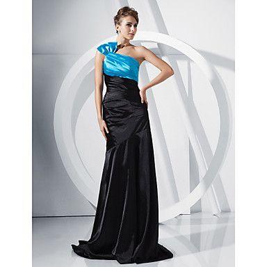 Trumpet/ Mermaid One Shoulder Sweep/ Brush Train Stretch Satin Evening Dress – USD $ 179.99