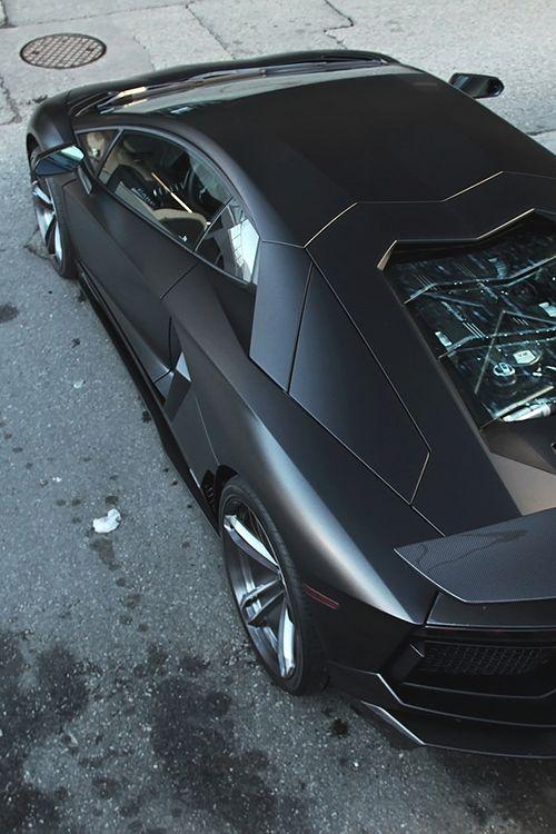 Matte black Lamborghini Aventador top view