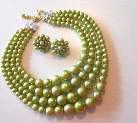Celery Green 4 Strand Beaded Necklace and Clip Earring Set circa 1960s - Dorothea's Closet Vintage