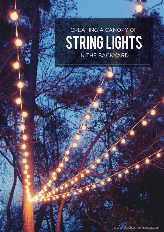 A Canopy of String Lights in our Backyard Patio, Backyards and Lighting ideas