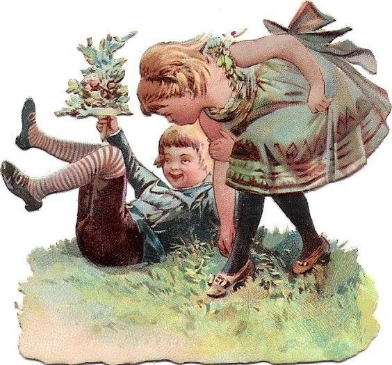 Oblaten Glanzbild scrap die cut chromo Kind child girl playing gras flower fille: