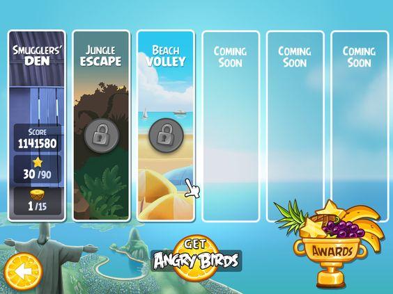 Angry Birds Rio menu