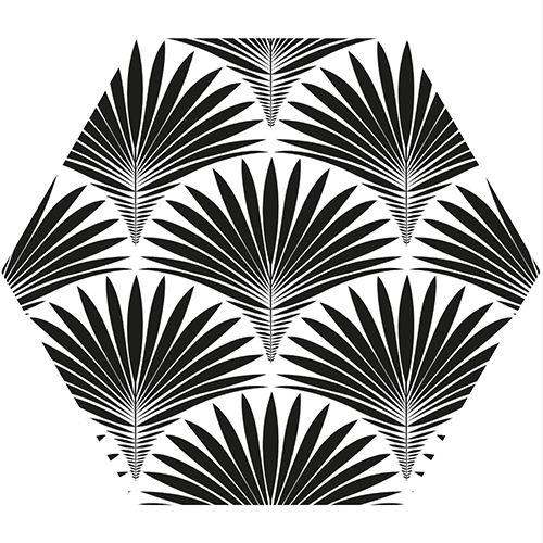 Adhesif Hexagone Noir Et Blanc Motif Ecaille Art Deco Avec Des
