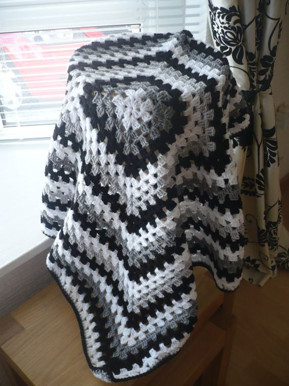 Granny Square Baby Blanket in Colors Black White and by Aalexi,