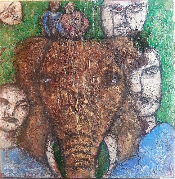 """""""Expedition ?""""   Marmormehlstruktur, Beize, Schellack,  Pigmente, transp. grün, Kohle und  Schlussfirniss auf Keilrahmen  60 x 60 x 2 cm"""