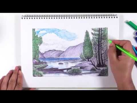 Drawing With A Dry Pen How To Paint A Dry Colored Landscape Colorful Landscape Painting Drawings