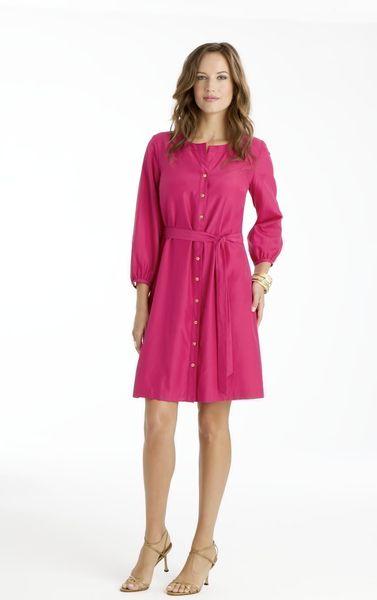 madeinusa celia silk and more watermelon dress in cotton shirt dress ...