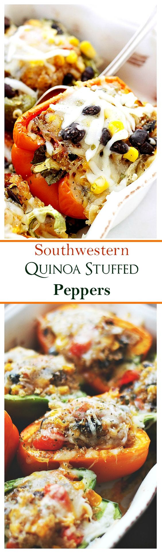 Southwestern Quinoa Stuffed Peppers: Stuffed with a delicious and cheesy quinoa mixture, these peppers are flavorful, healthy and filling!