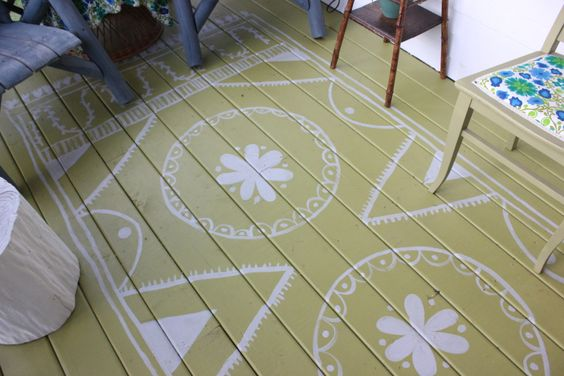 The Veranda - makeover by farm fresh style - hand painted rug