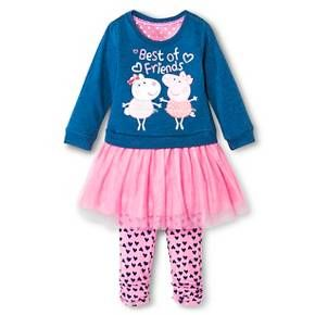 Toddler Girls' Peppa Pig Top and Bottom Set - Blue